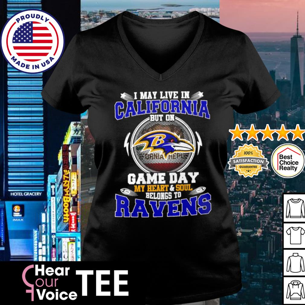 I May Live In Pennsylvania Game Day Me Heart And Soul Belong To Ravens Shirt v-neck t-shirt
