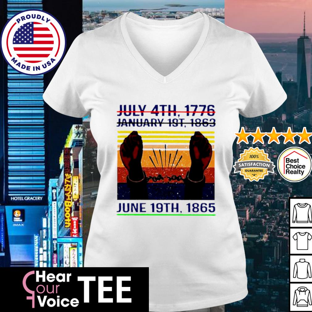 July 4th 1776 January 1st 1963 June 19th 1985 Vintage Shirt v-neck t-shirt