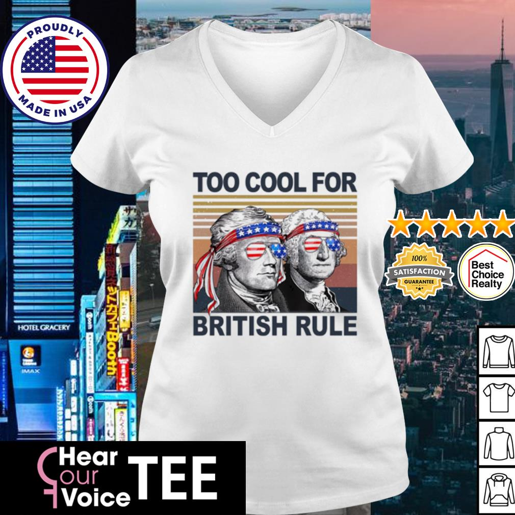 Vintage Alexander Hamilton and George Washington too cool for British rule s v-neck t-shirt