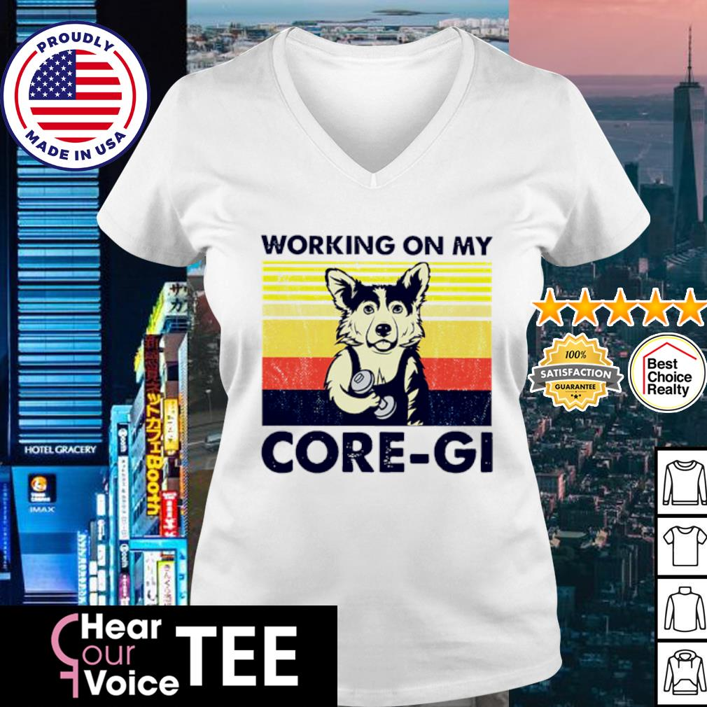 Vintage Gym Corgi working on my Core-Gi s v-neck t-shirt