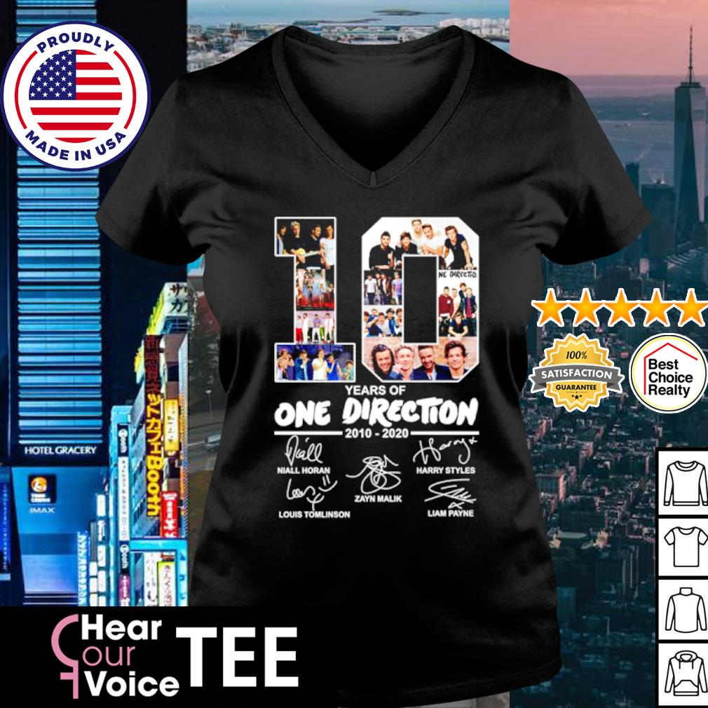 10 Years of One Direction 2010 2020 signatures s v-neck t-shirt