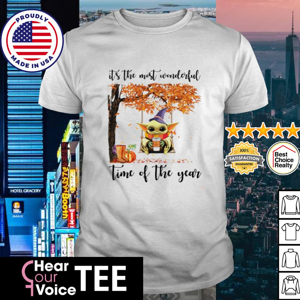 Baby Yoda Halloween autumn Baby Yoda it's the most wonderful time of the year shirt