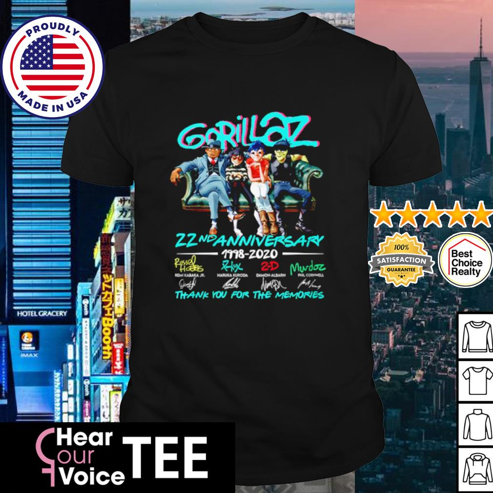 Gorillaz 22nd anniversary 1998 2020 thank you for the memories shirt