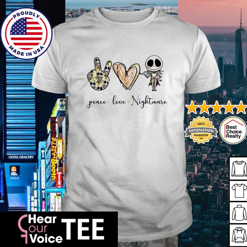 Peace Love Nightmare Jack Skekkington shirt