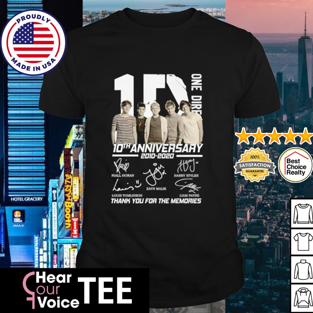 1D One Riresion 10th anniversary 2010 2020 thank you for the memories shirt
