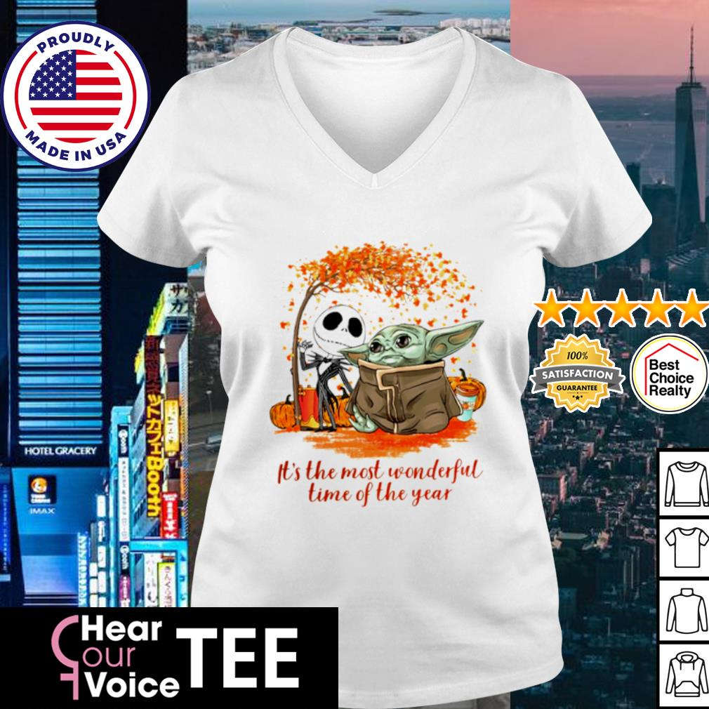 Baby Yoda and Jack Skellington it_s the most wonderful time of the year Halloween s v-neck t-shirt