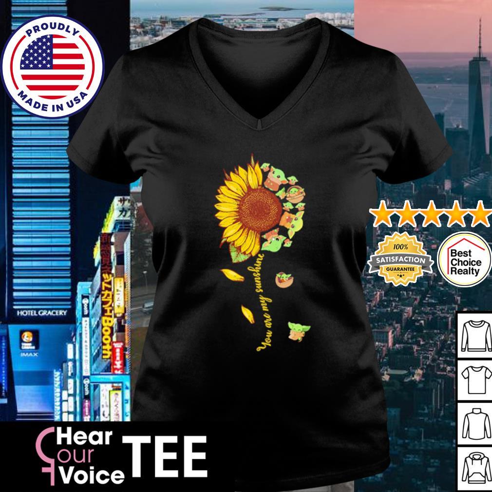 Baby Yoda you are my sunshine flower s v-neck t-shirt