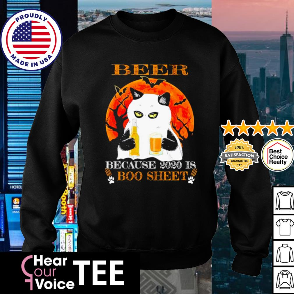 Black cat beer because 2020 is boo sheet Halloween s sweater