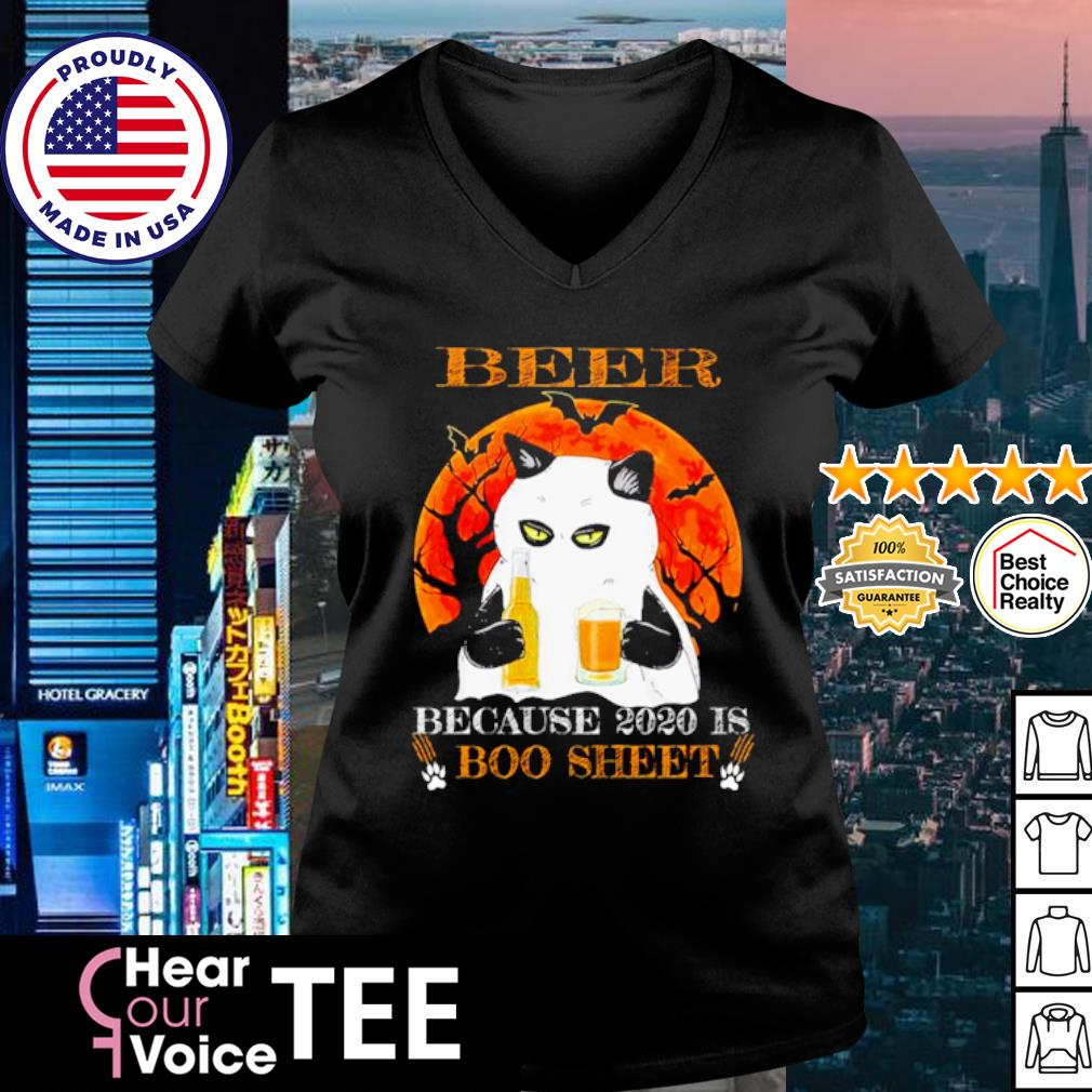 Black cat beer because 2020 is boo sheet Halloween s v-neck t-shirt