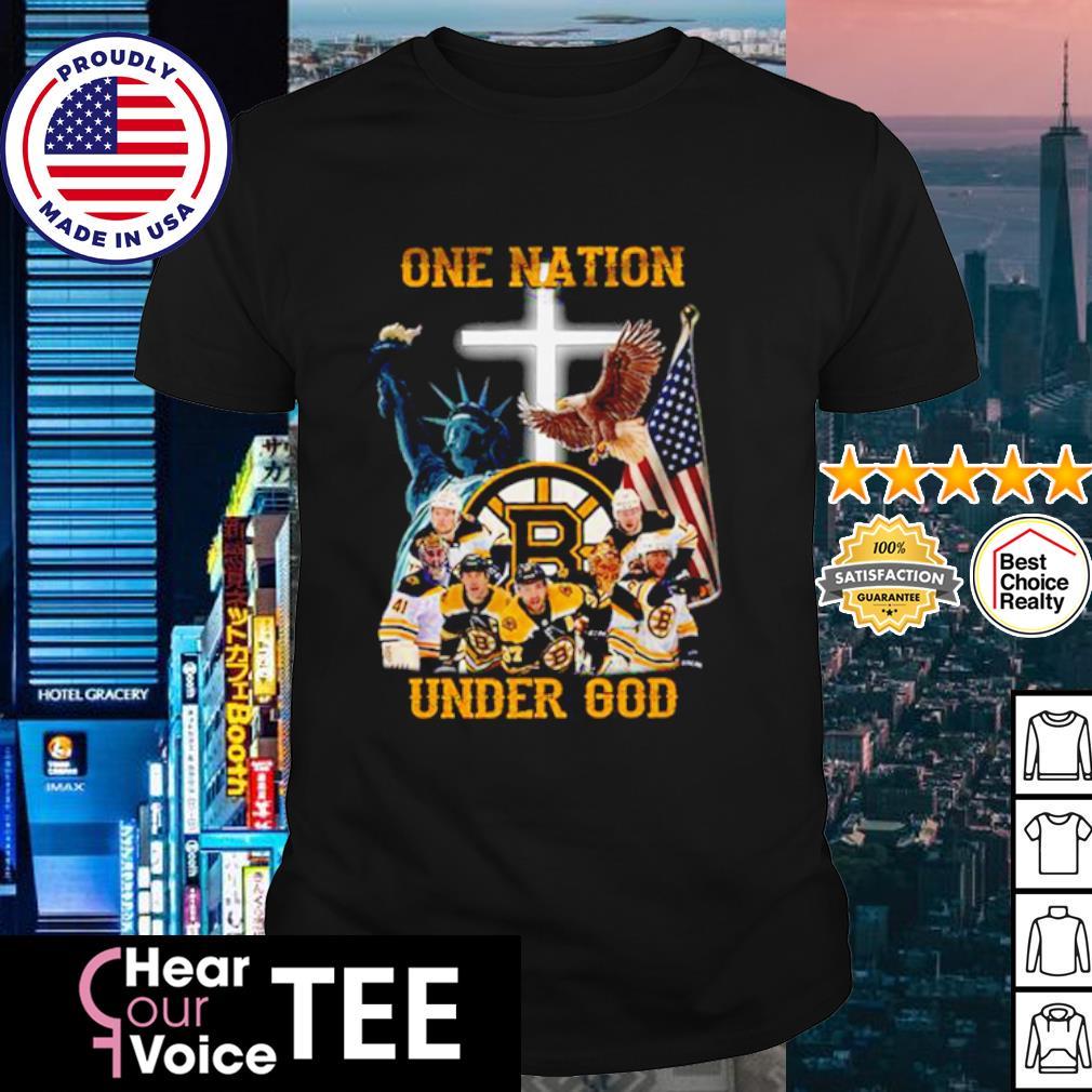Boston Bruins one nation under god American flag shirt
