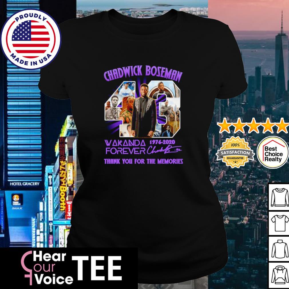 Chadwick Boseman 43 Wakanda forever 1976-2020 thank you for the memories s ladies tee
