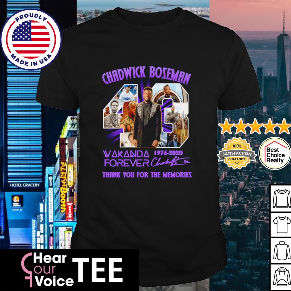 Chadwick Boseman 43 Wakanda forever 1976-2020 thank you for the memories shirt