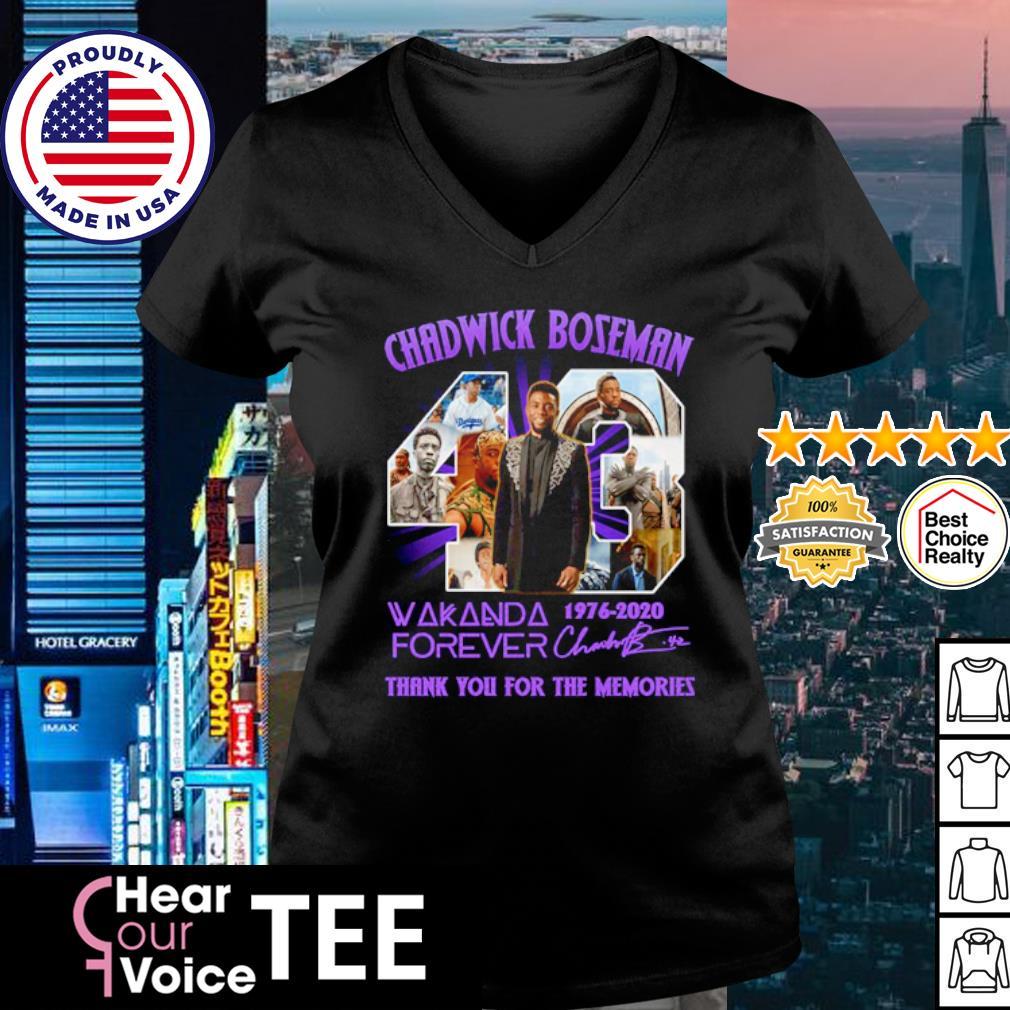 Chadwick Boseman 43 Wakanda forever 1976-2020 thank you for the memories s v-neck t-shirt