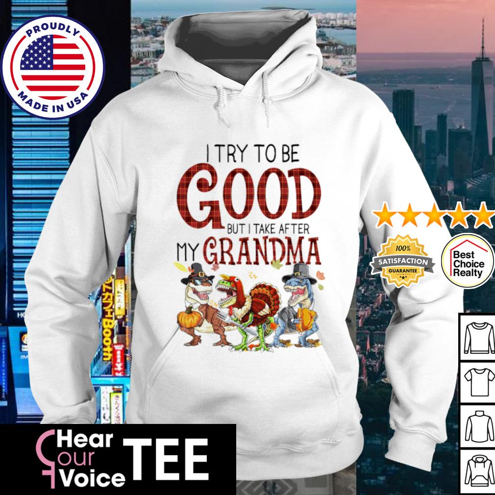Dinosaur T-rex I try to be good but I take after my grandma Halloween s hoodie