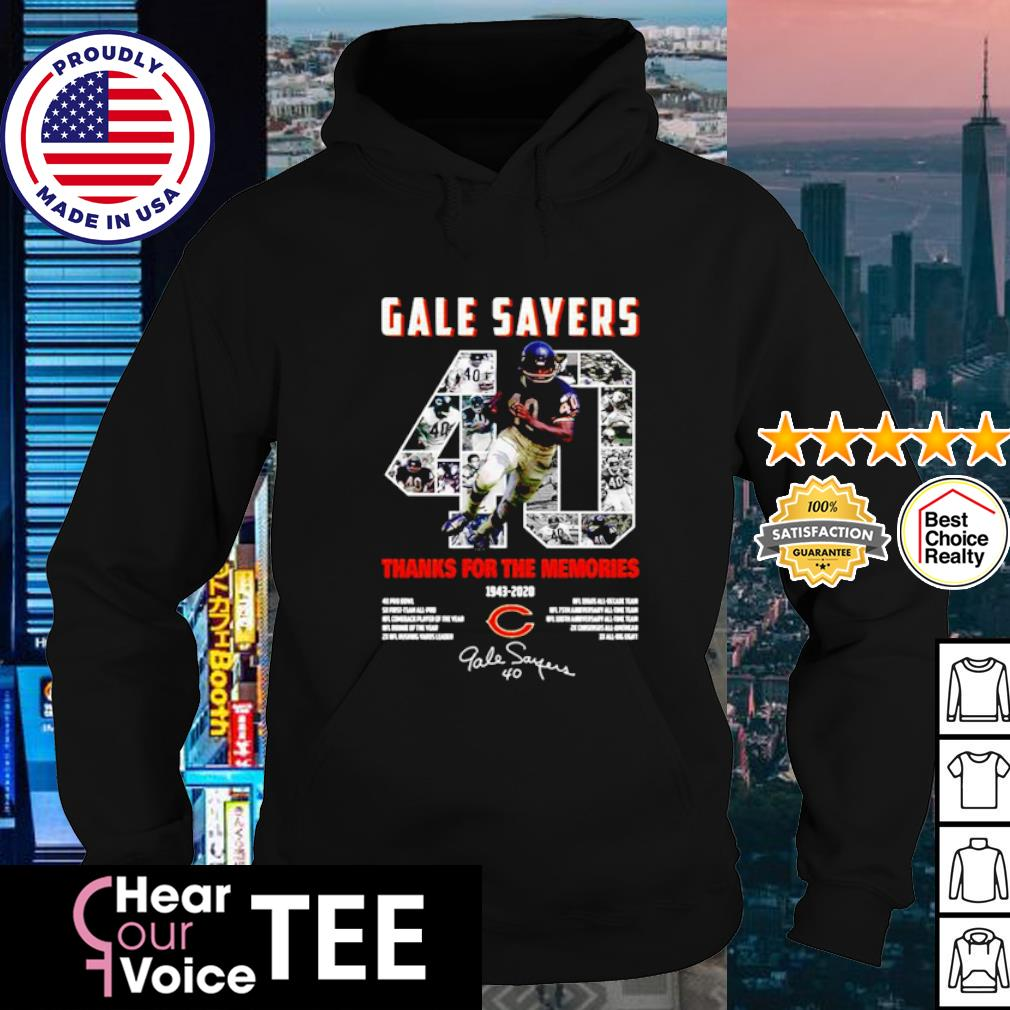 Gale Sayers 40 thanks for the memories 1943 2020 signature s hoodie