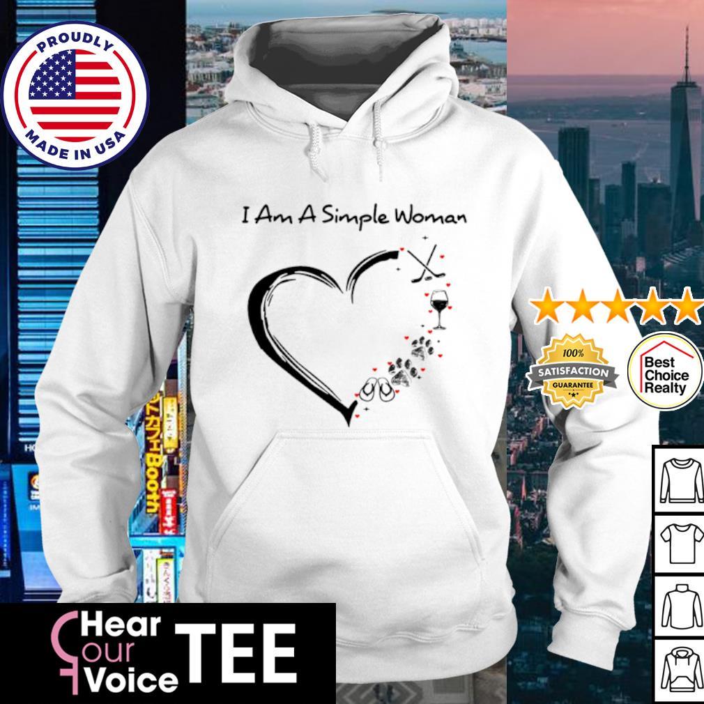 I am a simple woman i love flip flop paw dog wine glass hockey s hoodie