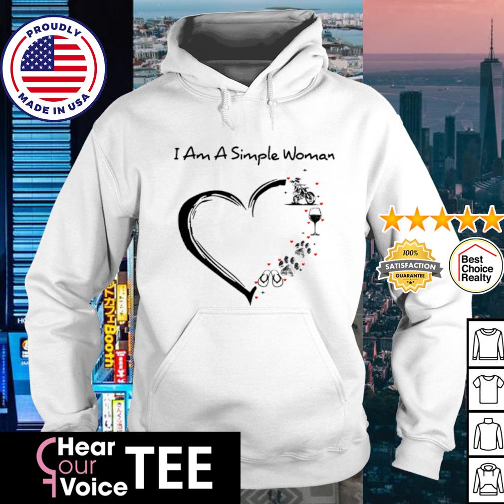 I am a simple woman Wine Paw Dog and Flip Flop Motorcycle s hoodie