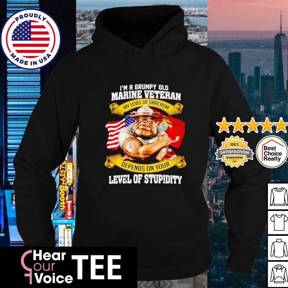 I'm a grumpy old marine veteran my level of sarcasm depends on your level of stupidity s hoodie