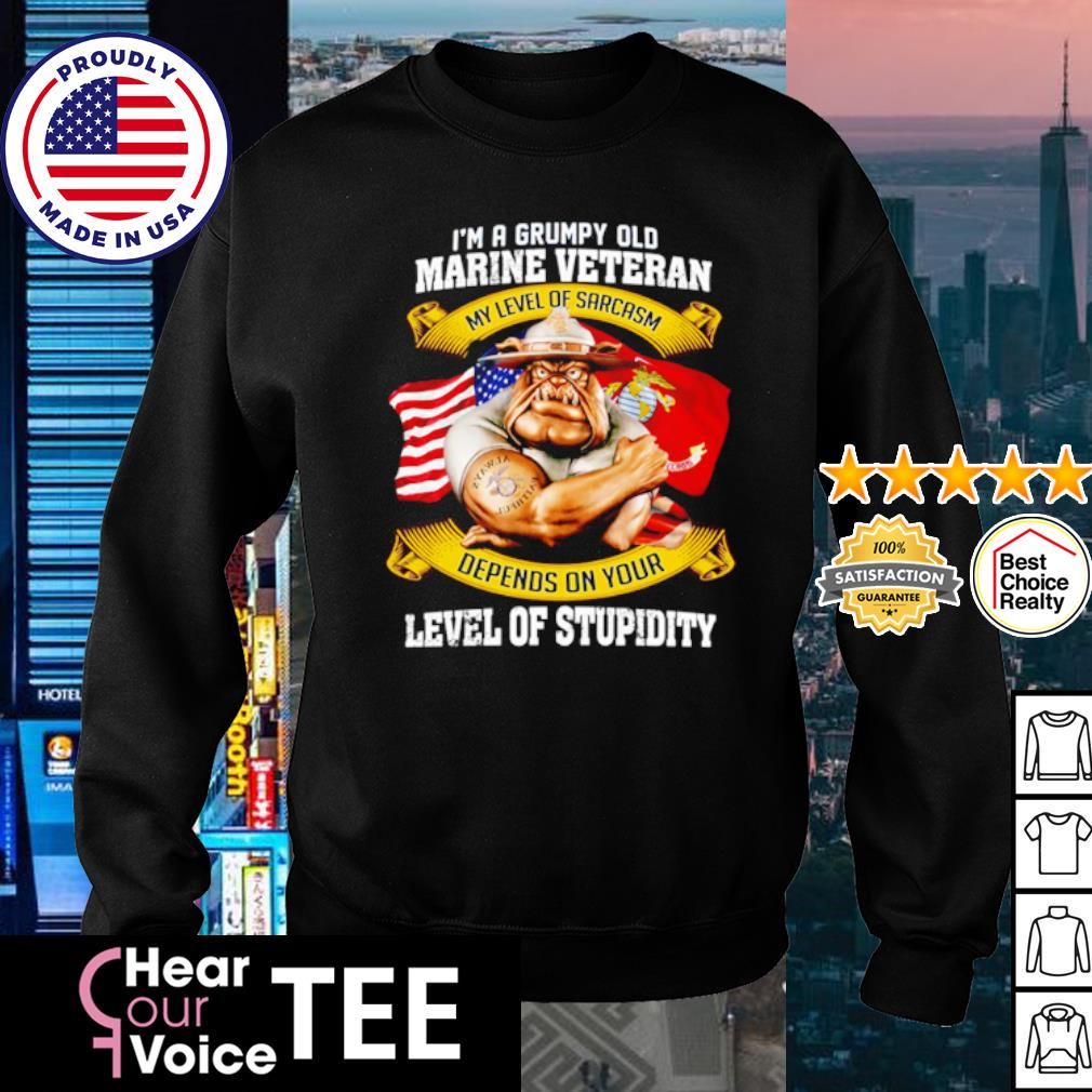 I'm a grumpy old marine veteran my level of sarcasm depends on your level of stupidity s sweater