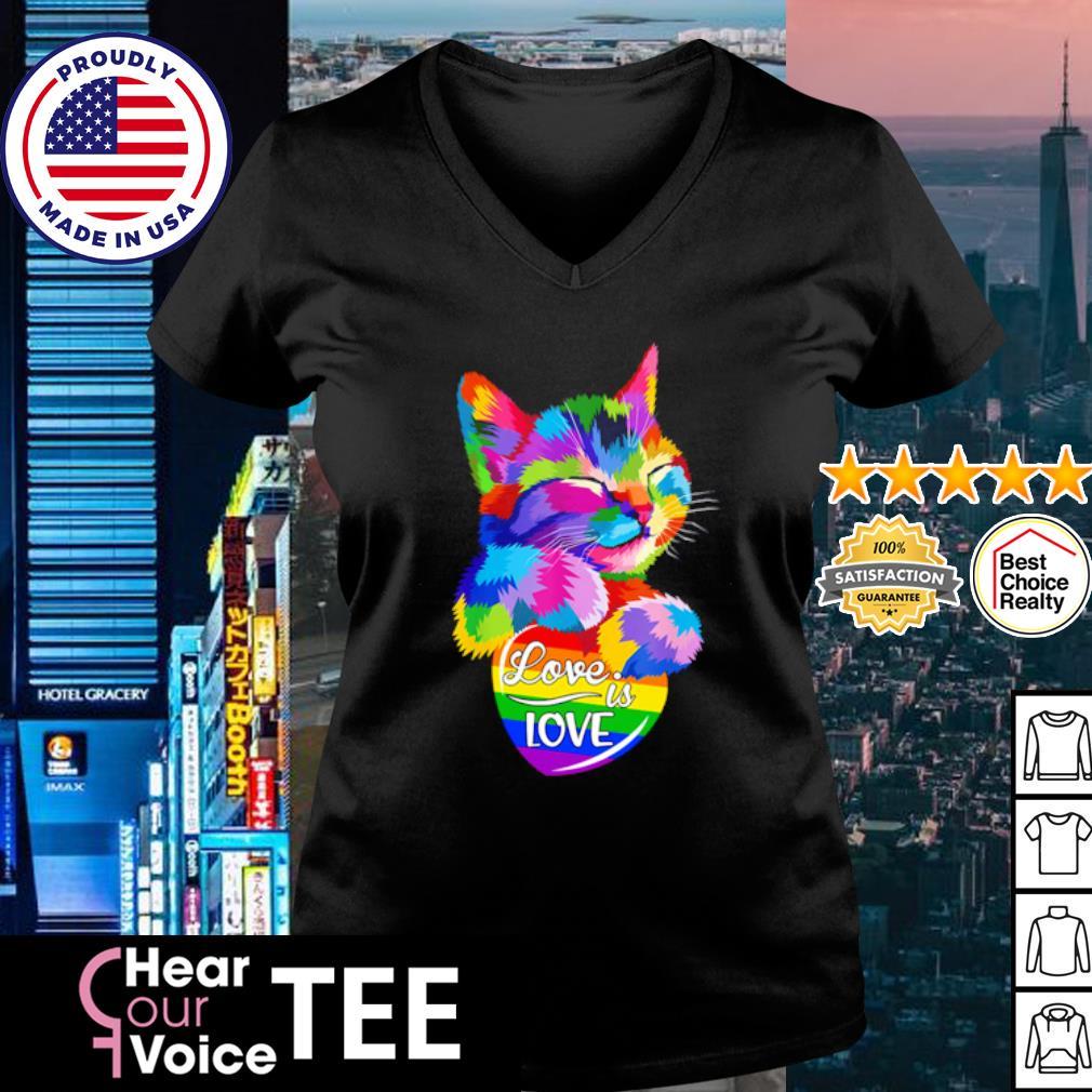 LGBT Cat love is love s v-neck t-shirt