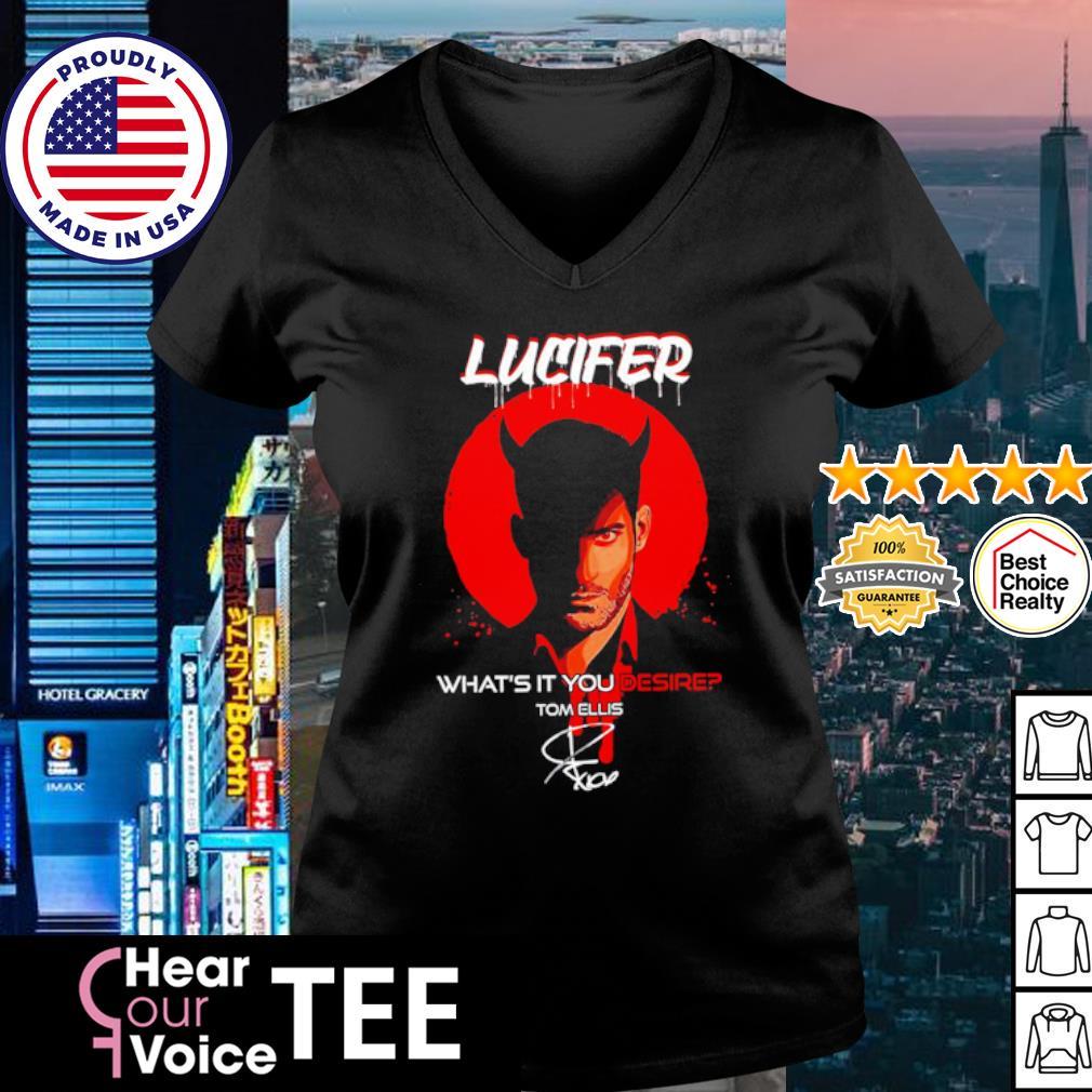 Lucifer what's it you desire Tom Ellis signature s v-neck t-shirt