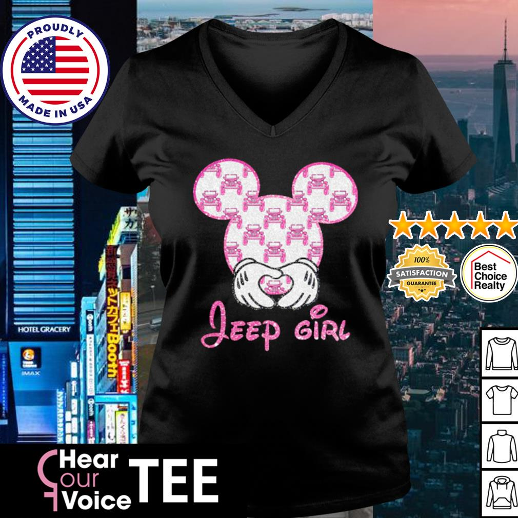 Mickey Mouse love Jeep girl diamond s v-neck t-shirt