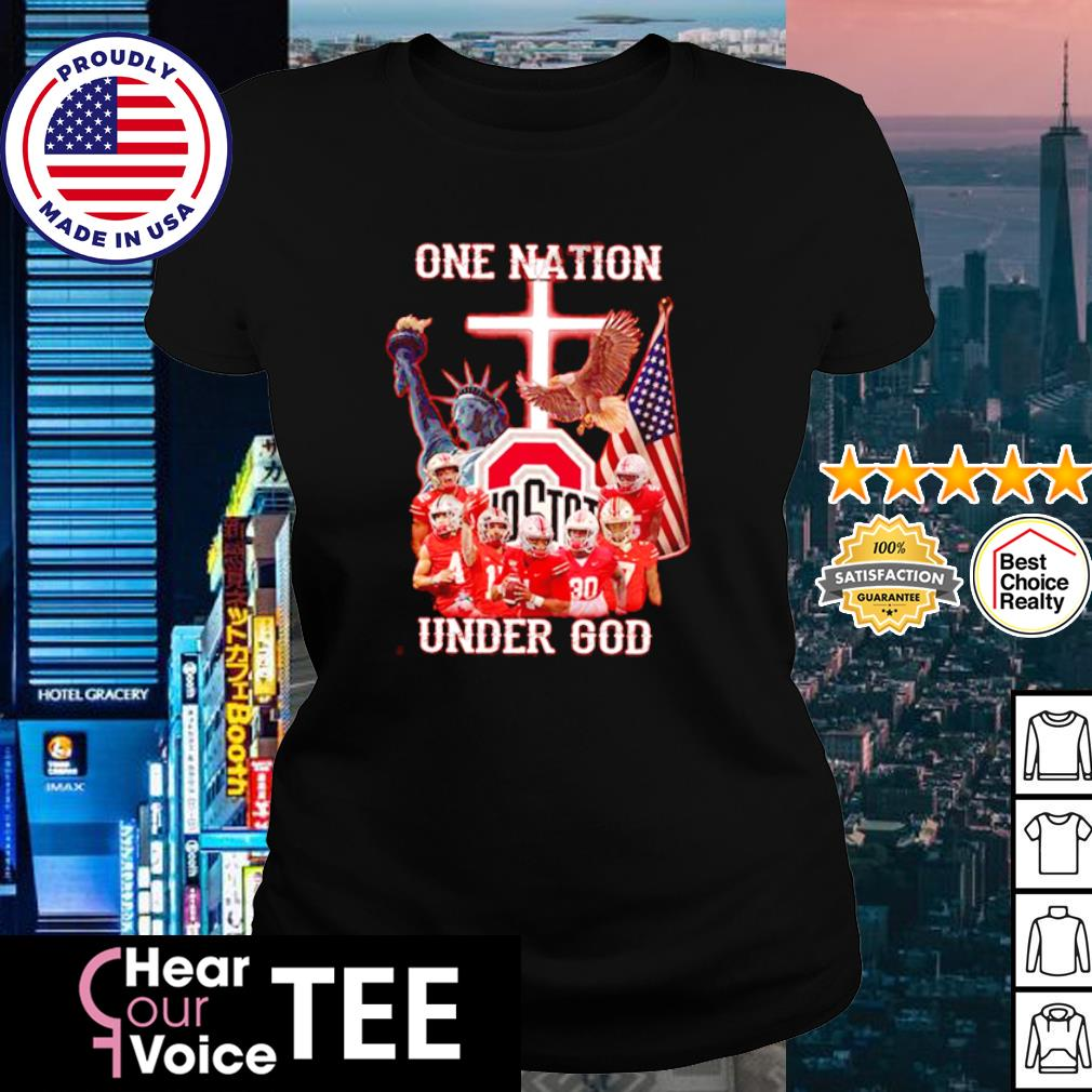 Ohio State Buckeyes one nation under god American Flag s ladies tee
