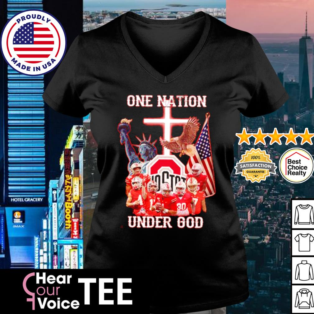 Ohio State Buckeyes one nation under god American Flag s v-neck t-shirt