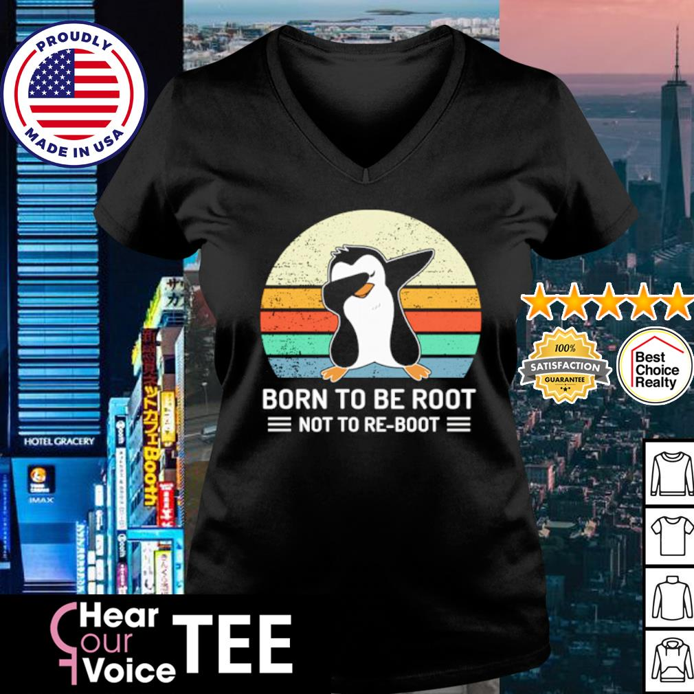 Penguins Dabbing born to be root not to Be boot vintage s v-neck t-shirt