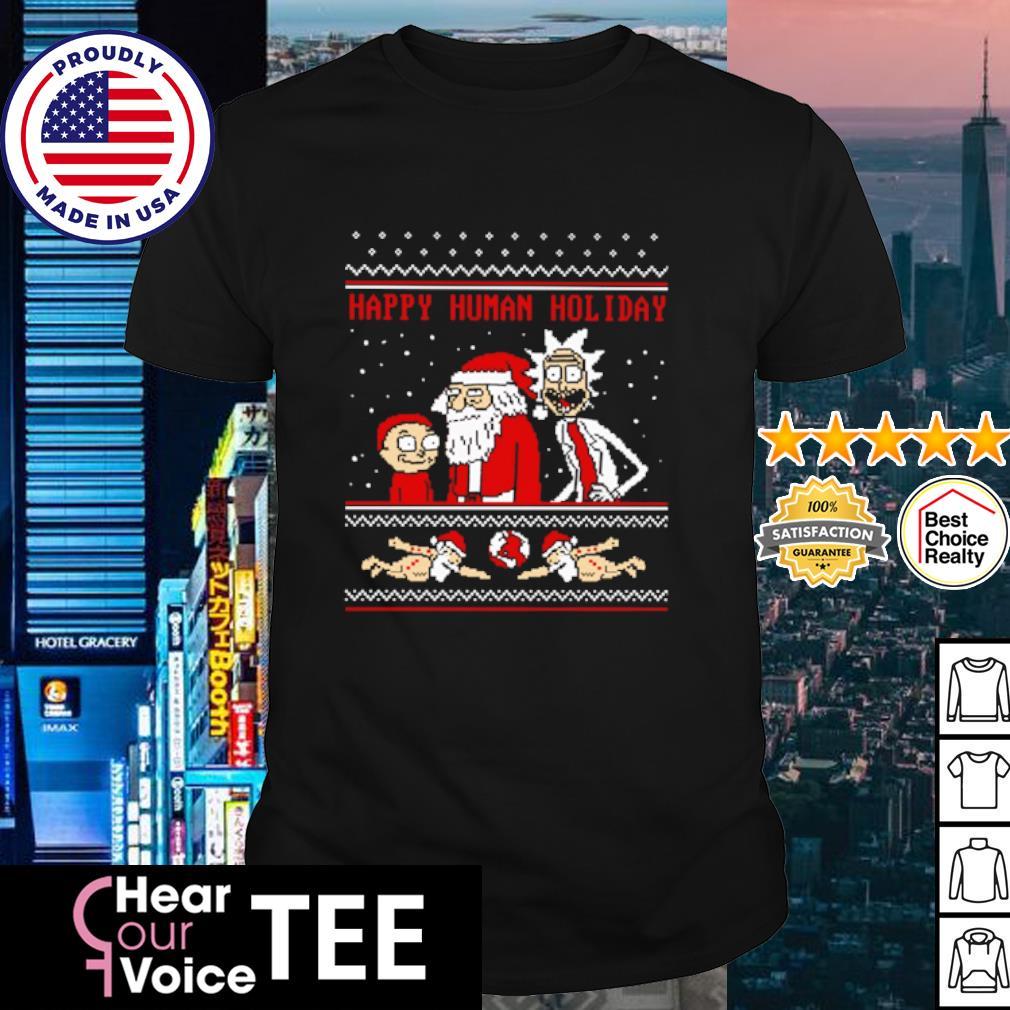 Rick And Morty happy human holiday ugly Christmas shirt
