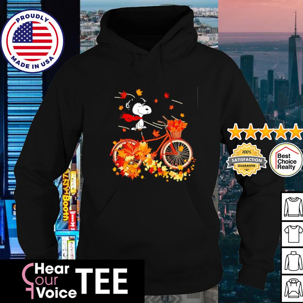 Snoopy riding bicycle autumn leaf tree s hoodie