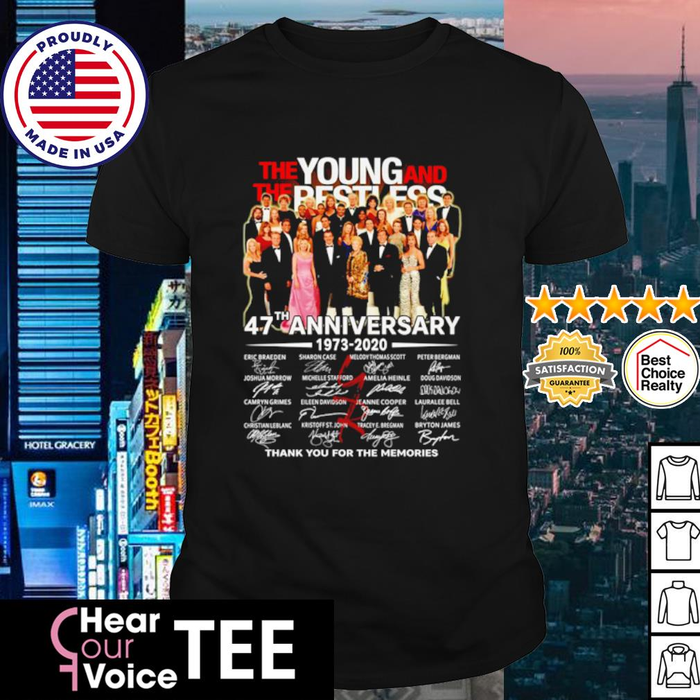 The Young and The Restless 47th Anniversary 1973 2020 thank you for the memories shirt