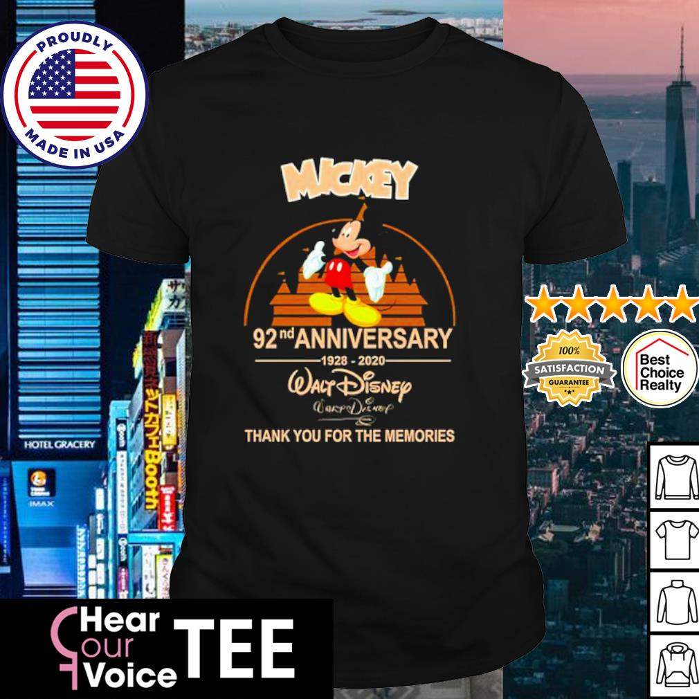 Walt Disney Mickey 92nd Anniversary 1928-2020 signature shirt