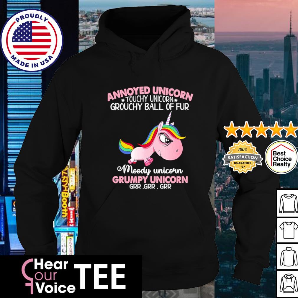 Annoyed unicorn touchy unicorn grouchy ball of fur moody unicorn grumpy unicorn s hoodie