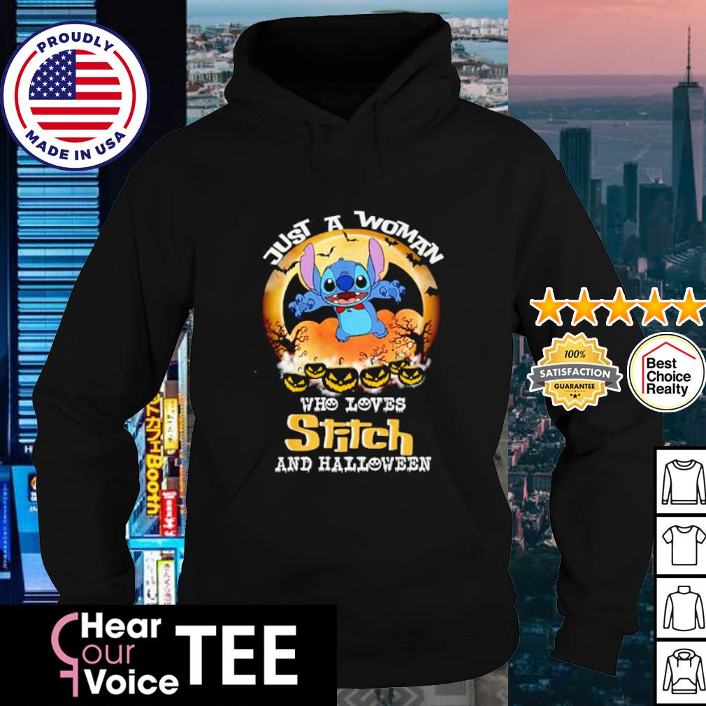 Just a woman who loves Stitch and Halloween s hoodie