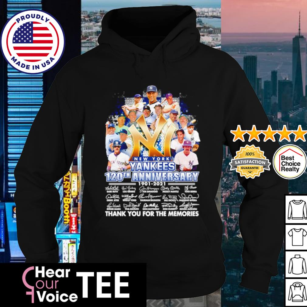 New York Yankees 120th anniversary 1901 2021 thank you for the memories signature s hoodie