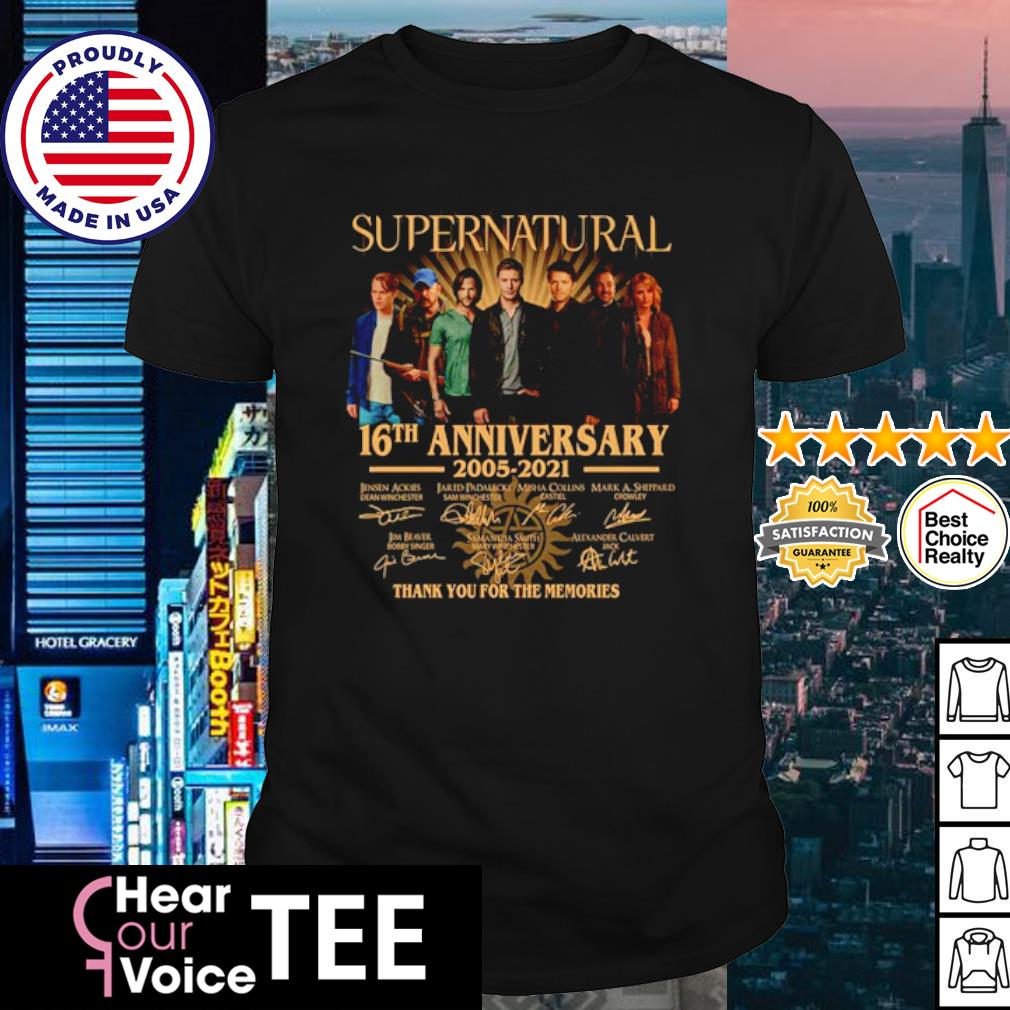 Supernatural 16th anniversary 2005 2021 thank you for the memories signature shirt